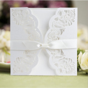 Kangnice 10pcs Wedding Invitation Paper Card Kit With Envelopes Seals Custom Personalised Printing White