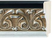 Picture Frame Moulding (Wood) 5.5m bundle - Ornate Silver Finish - 11cm width - 1.6cm rabbet depth