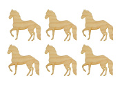 Horse Shape Unfinished Wood Animal Cut Outs 6.4cm Inch 6 Pieces HRS02-06