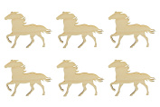 Horse Shape Unfinished Wood Animal Cut Outs 7.6cm Inch 6 Pieces HRS01-06