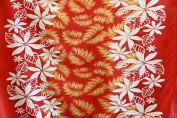 Plumeria border Monstera Design Fabric 110cm inch Sold by The Yard Red