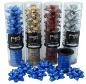 Gift Wrap Bows Curling Ribbon Set (24 bows 5.1cm ) (4 Curling Ribbon) Silver, Gold, Blue, Red