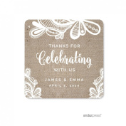 Andaz Press Burlap Lace Wedding Collection, Personalised Square Label Stickers, Thank You for Celebrating With Us, 40-Pack, Custom Name