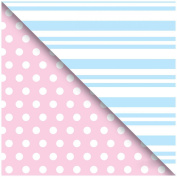 Jillson Roberts Pastel Pink with Dots and Pastel Blue with Stripes Double Sided Gift Wrap Roll, 1.5m x 80cm