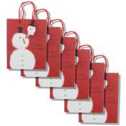Medium Whimsical Gift Bag - Wishing You a Happy Holidays Snowman - 6 Pack