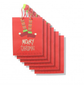 Large Merry Christmas Red Elf Gift Bag - 6 Pack