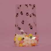 Black Puppy Dog Printed Clear Cello Treat Bags