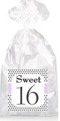 Sweet 16th Birthday On Black Dotted Party Favour Bags with Ties - 12pack