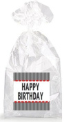 Happy Birthday Red Accents with White and Black Stripes Party Favour Bags with Ties - 12pack