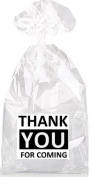 Black and White Thank YOU For Coming Party Favour Bags with Ties - 12pack