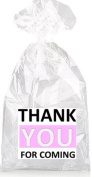 Black White and Pink Thank YOU For Coming Party Favour Bags with Ties - 12pack