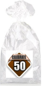 Celebrate 50th Birthday on Brown Party Favour Bags with Ties - 12pack