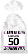 Fabulous 50th Birthday Zebra Pattern Party Favour Bags with Ties - 12pack