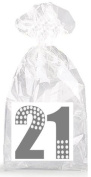 Silver Dotted 21st Birthday Party Favour Bags with Ties - 12pack
