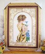 Lady and Blue rose counted cross stitch, cotton thread , 14ct 28x46 cm 97x198 Stith counted cross stitch kits