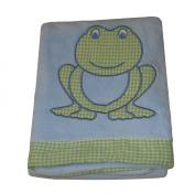 Green White Gingham Plaid Frog on Blue 80cm X 100cm Baby Blanket