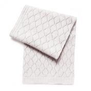 Esteffi Diamond Wool Blend Baby Blanket, Ivory