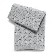 Esteffi Fan Stitch Wool Blend Baby Blanket, Grey