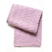 Esteffi Cable Knit Wool Blend Baby Blanket, Pink