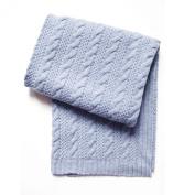 Esteffi Cable Knit Wool Blend Baby Blanket, Blue