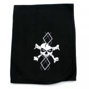 Crazy Baby Clothing White Argyle Skull on Black Cotton Swaddling Receiving Blanket Unisex