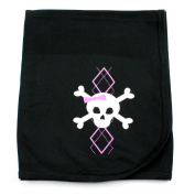Crazy Baby Clothing Pink Argyle Skull on Black Cotton Swaddling Receiving Blanket Baby Girl