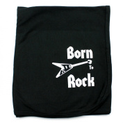 Crazy Baby Clothing Born To Rock on Black Cotton Swaddling Receiving Blanket Unisex