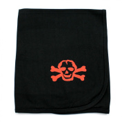 Crazy Baby Clothing Red Scribble Skull on Black Cotton Swaddling Receiving Blanket