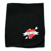 Crazy Baby Clothing Love Mom Tattoo on Black Cotton Swaddling Receiving Blanket