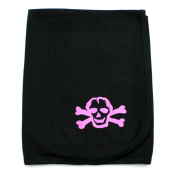 Crazy Baby Clothing Pink Scribble Skull on Black Cotton Swaddling Receiving Blanket