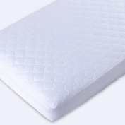 Puredown Waterproof Quilted Fitted Crib Mattress Pad, 300 Thread Count 100% Cotton Fabric, White, Set of 2