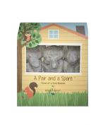 Angel Dear a Pair and a Spare 3 Piece Blankies Gift Box, Grey Elephant