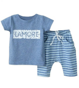 Wxian Children's Letters Short Sleeve Shorts Two-Piece Outfit
