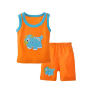 Collager Unisex-baby 2pcs Cartoon Sleeveless Tank Tops Vests With Pants Set