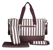 Yoovi Large Capacity Nappy Bags Tote Bag Shoulder Bag Striped, with Changing Pad and Insulated Bag
