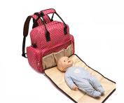 SKK BABY Waterproof Multifunctional Nappy Tote Bags Portable Larger Capacity Mummy Handbag Backpack Red