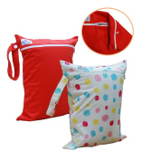 Babyfriend 2 PCS Travel Baby Wet and Dry Cloth Nappy Bag Double Zippered Reusable Organiser Bag