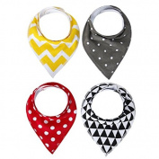 Baby Bandana Bibs Absorbent Cotton with Adjustable Snaps - 4 Pack Drool Bib Gift Set