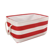 Fieans Cotton Collapsible Household Organiser Basket for Storage, Drawstring Closure with Handles,Lightweight for Toys,Dorm-room Storage Boxes-Red Stripe Large Size