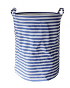 Fieans Cartoon Household Laundry Storage Basket Foldable Clothes Toys Storage Barrels Bucket Bin Pop Up Storage-Blue Stripe