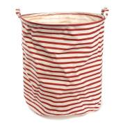 Fieans Cartoon Household Laundry Storage Basket Foldable Clothes Toys Storage Barrels Bucket Bin Pop Up Storage-Red Stripe