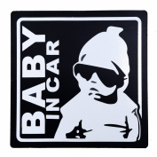 BABY IN CAR baby riding in the magnet outside the paste stickers 12cm black