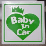 Original sticker Baby In Car Crown Heart (Fresh Green) ST-1076