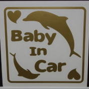 Original sticker Baby In Car dolphin (Gold) SD-1099