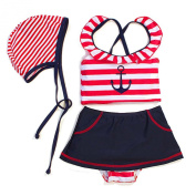 Two Piece Swimwear Set Navy Stripe Baby Girl Swimsuit With Bow-knot