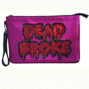 Iron Fist DEAD BROKE CLUTCH Purse Pink and Red Sequins