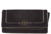 Salvatore Ferragamo women's suede clutch handbag bag purse camy black