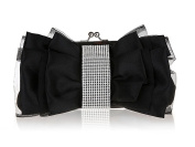 Ladies Bow Pleated Crystal-Studded Satin Bridal Evening Cocktail Wedding Party Handbag Clutch