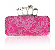 Womens Flower Fashion Metallic Skull Envelope Wedding Evening Cocktail Party Clutch Purse Handbag