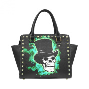 D-Story Custom Cool Skull with Blue Fire PU leather Rivet Shoulder Handbags